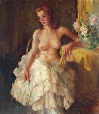 a seated female nude with a floral bouquet by william frederick foster