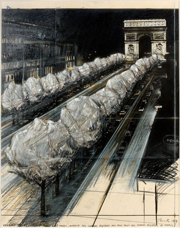 wrapped trees/project for 267 trees, avenue des champs-elysees and rond-point des champs-elysees in paris by christo and jeanne-claude