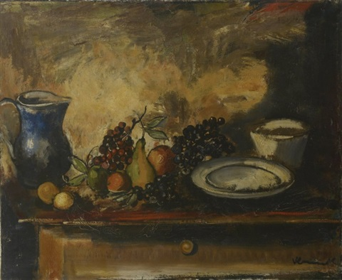 nature morte au pichet et aux fruits by maurice de vlaminck