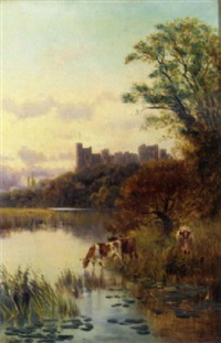 cattle watering before a castle by e. aubrey