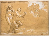adam and eve cast out of the garden of eden by paolo farinati