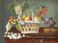 still life with mixed fruits in a reticulated basket by giovanna garzoni