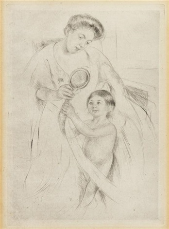 looking into the hand mirror no 3 by mary cassatt