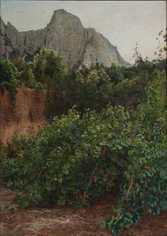 southern european landscape with vines by janus andreas barthotin la cour