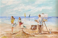 artist at the beach by lorna millar