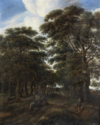 a wooded landscape with a horseman on a sandy road and a fisherman by a pond in the foreground by pieter jansz van asch