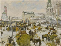 murom city square (+ horse and cart, smllr; 2 works) by ivan semionovich kulikov