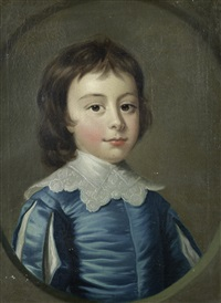 portrait of a young boy, in a blue silk coat, within a painted stone oval; and portrait of a young girl in a white silk dress and with flowers in her hair (pair) by joseph highmore
