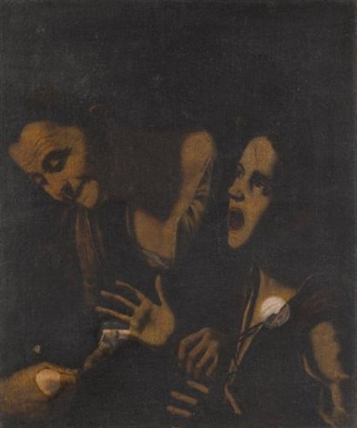 a young boy bitten by a mouse helped by an old woman by michelangelo merisi da caravaggio