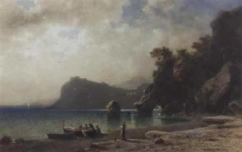 fishermen on a beach capri by friedrich wilhelm albert dressler