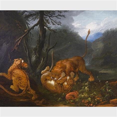 löwen beschützen ihre kleinen vor einem angriff lions protecting their young by carl borromaus andreas ruthart
