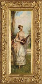 mujer joven sosteniendo un laúd by j.r. goblet