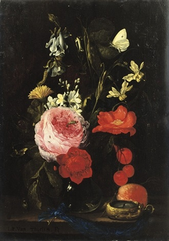 a rose an anemone a marigold narcissi and other flowers in a glass vase by jan pauwel gillemans the elder