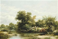 a fisherman on a river, with eel nets on the opposite bank by james stark