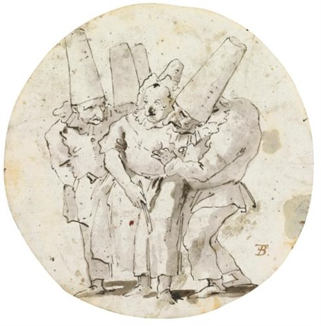 four punchinelli courting a woman wearing a bonnet by giovanni battista tiepolo