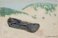 kleines boot in den dünen by hermann konnerth