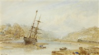 beached sailing vessels and the railway, whitby by george weatherill