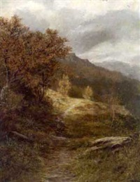 autumn landscape with faggot gatherer by henry w. henley