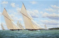 the big five powering towards the royal yacht squadron line, cowes, 1926 by stephen j. renard