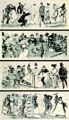 quatre frises mondaines scènes de bal 4 works by charles paul renouard