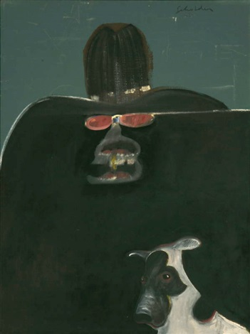 monster indian with dog by fritz scholder