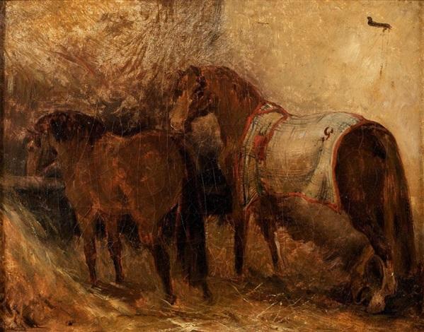 étude de cheval espagnol dans une écurie study by théodore géricault