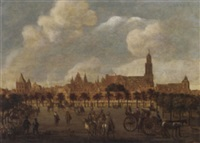 figures of het vredenburg, utrecht with the domkerk and the buurkerk beyond by sybrand van beest