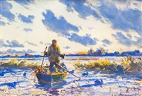 setting out decoys by john whorf