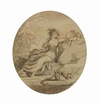 nymph and cupid; and three companion works (4 works) by lady diana beauclerk