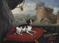 portrait of a small dog on a red cushion by georg khristopher groot