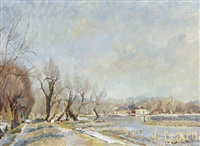 stockers lake in winter, rickmansworth by h. andrew freeth