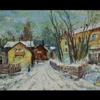 snowy road into town by carrie hill