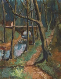 riverside path with trees and bridge by sidney smith