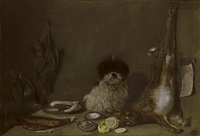 still life with a dog, a hare, partridges, oysters, a pipe and a lemon by nicolai peters herm. sohn