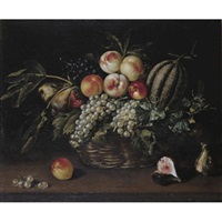 still life of a melon, peaches, grapes and figs in basket resting on ledge by jacques linard