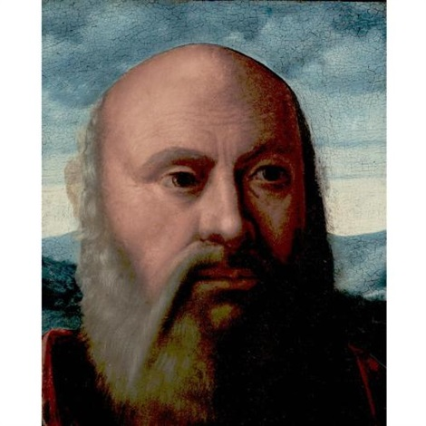 head of a man fragment by girolamo da santacroce