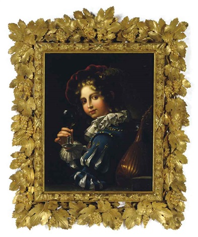 a youth holding a glass of wine and a mandolin by giovanni lega