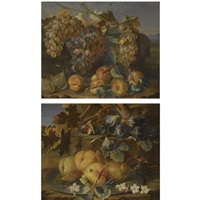 a still life of grapes on the vine, plums and peaches in a landscape (+ a still life of peaches and pears on a silver tazza, together with figs; pair) by christian berentz