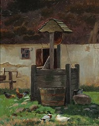 a well in the courtyard by simon ludvig ditlev simonsen