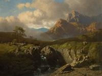 cerf franchissant une cascade by conradyn cunaeus