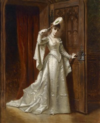 elegante dame in weißem damastkleid by ladislaus bakalowicz