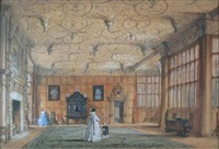 drawing room at bramhall hall, cheshire by joseph nash