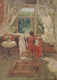 femme cousant à sa fenêtre by pavlovitch fedor reschetnikov