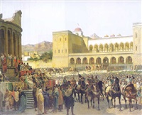 the exit of ruggero i, king of sicily, from the palazzo reale following his coronation by giuseppe patti sciuti