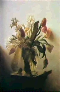 tulips and hyacinths in a glass vase on a marble      pediment. by ove haase