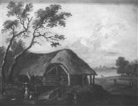 paysage avec importante chaumière et villageois by mathys balen