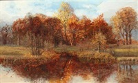 forest lake, autumn by thorvald simeon niss