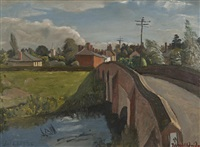 the bridge-great bardfield by john arthur malcolm aldridge