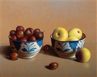 still life with peaches and plums in blue decorated white bowls (+ another; 2 works) by henri bol