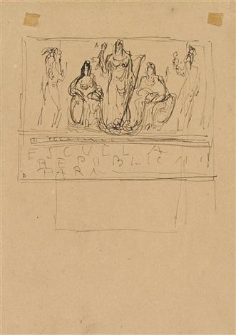 projekt für ein monument entwürfe für marmorvasen und grabsteine 2 works by lucio fontana